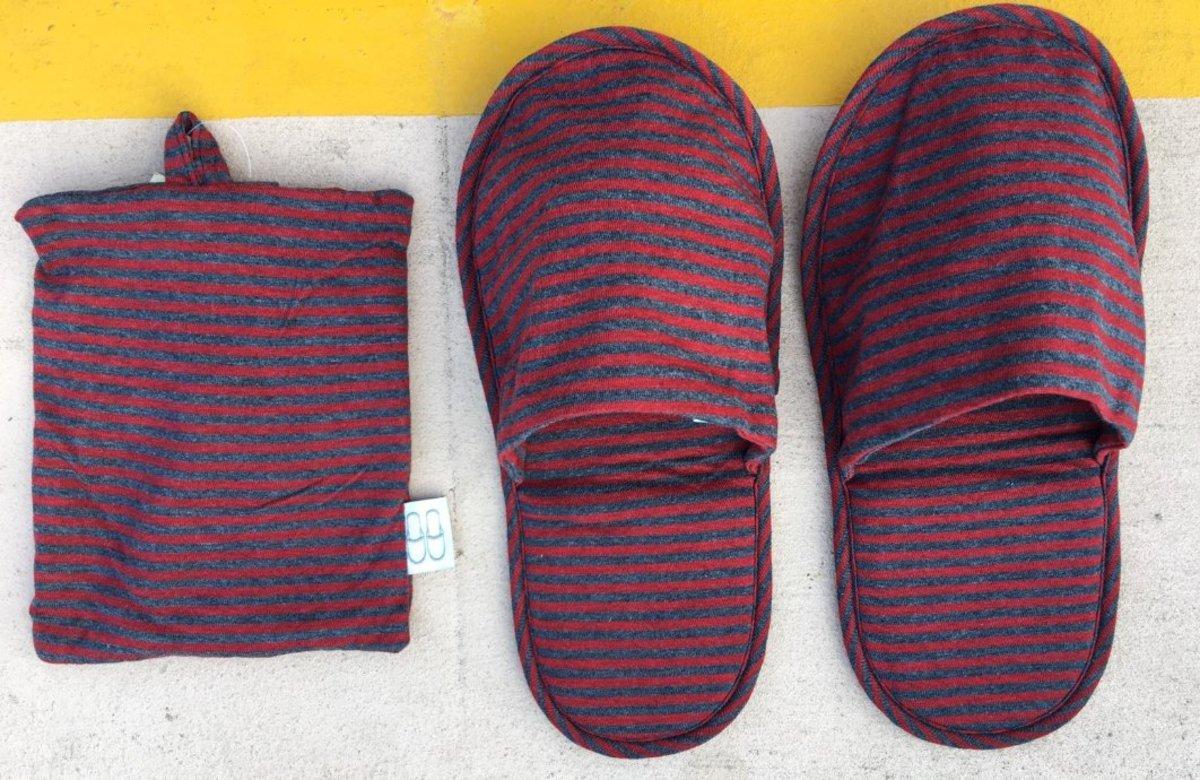 (紅x深灰間條) 日式簡約舒適棉質便攜旅行拖鞋 (附有同色收納袋)
