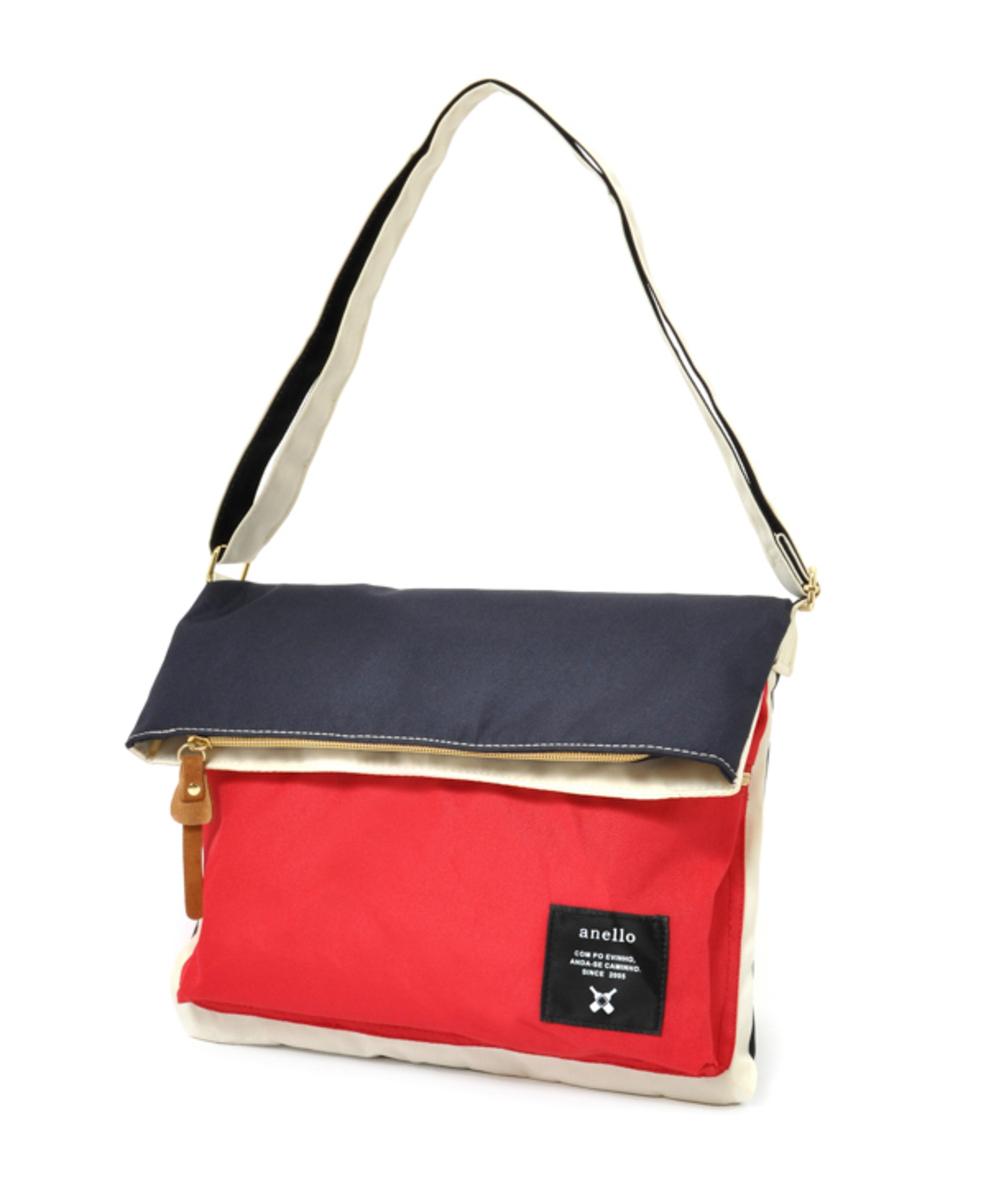 (Tricolour-Navy Back) Japan Anello Flap Shoulder Bag