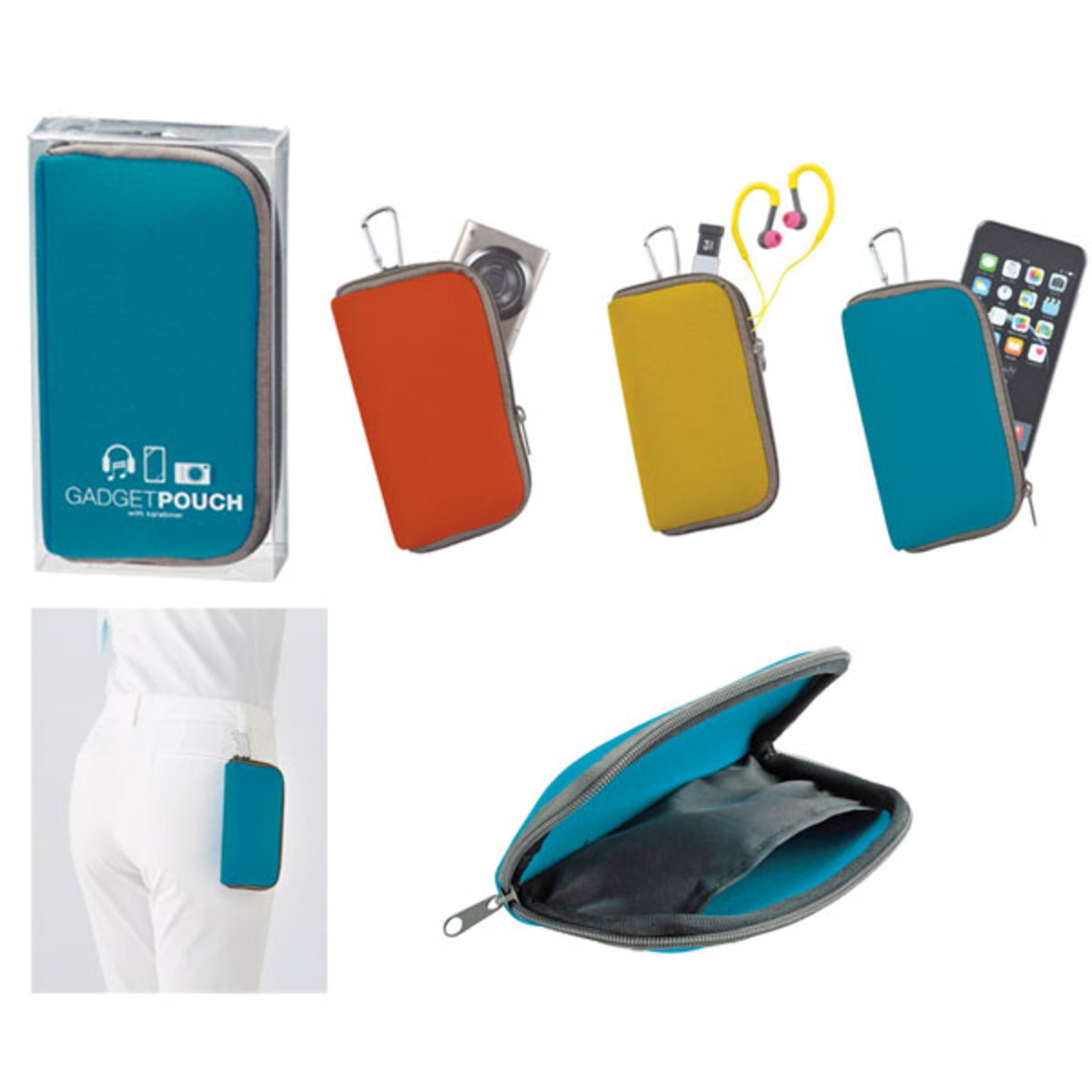 (Blue) Japan Gadget Pouch/Sumaho Pouch w/ Carabiner