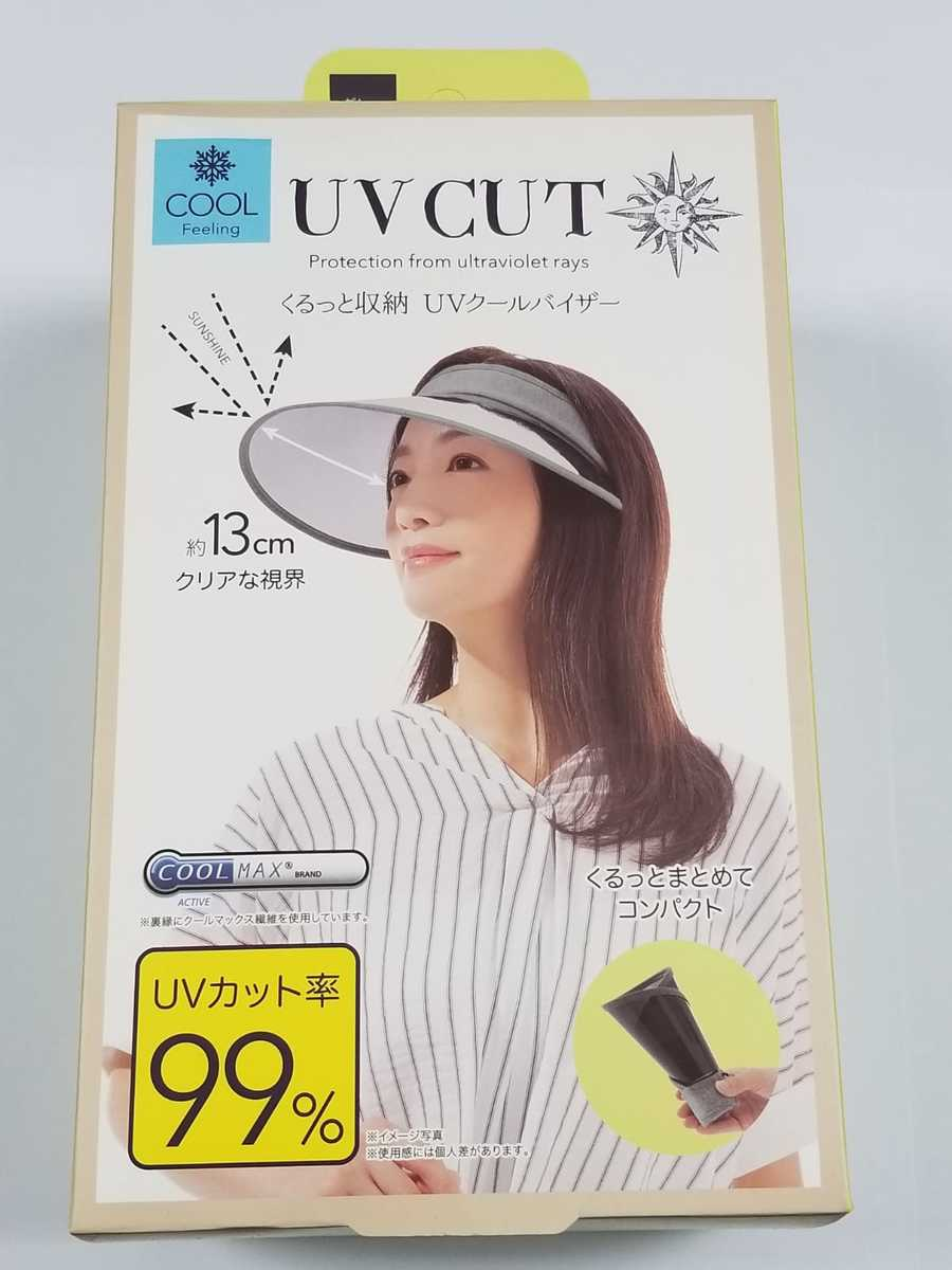 (Grey) (Green Box) Japan Design 99% UV Protection Cool Feeling Foldable Visor Cap w/ Storage Bag