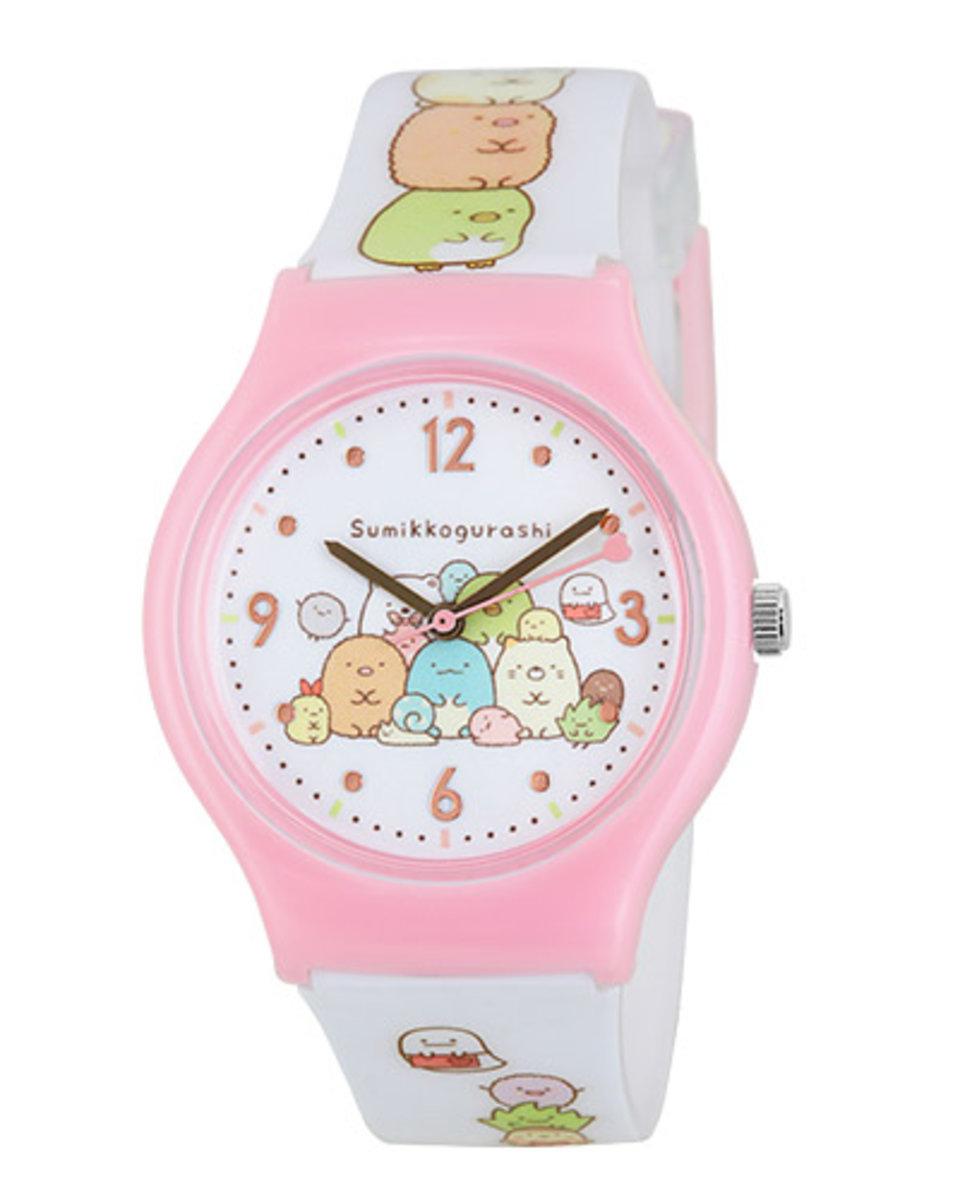 (粉紅/白錶帶) 日本超人氣 角落生物 卡通手錶