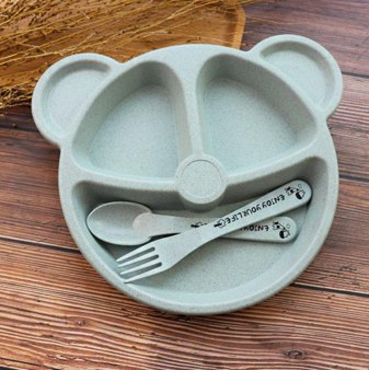 (淺藍色) 可愛小熊造型 兒童麥秸稈餐具套裝 (1套3件)