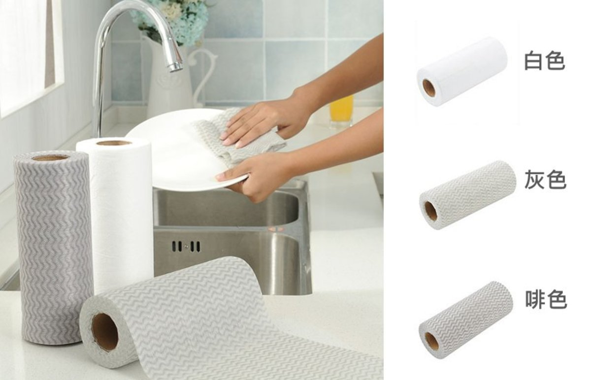 (Grey Towel) One-off Disposable Multi-function Kitchen/Cleaning Towel (50pcs) x 1 Roll