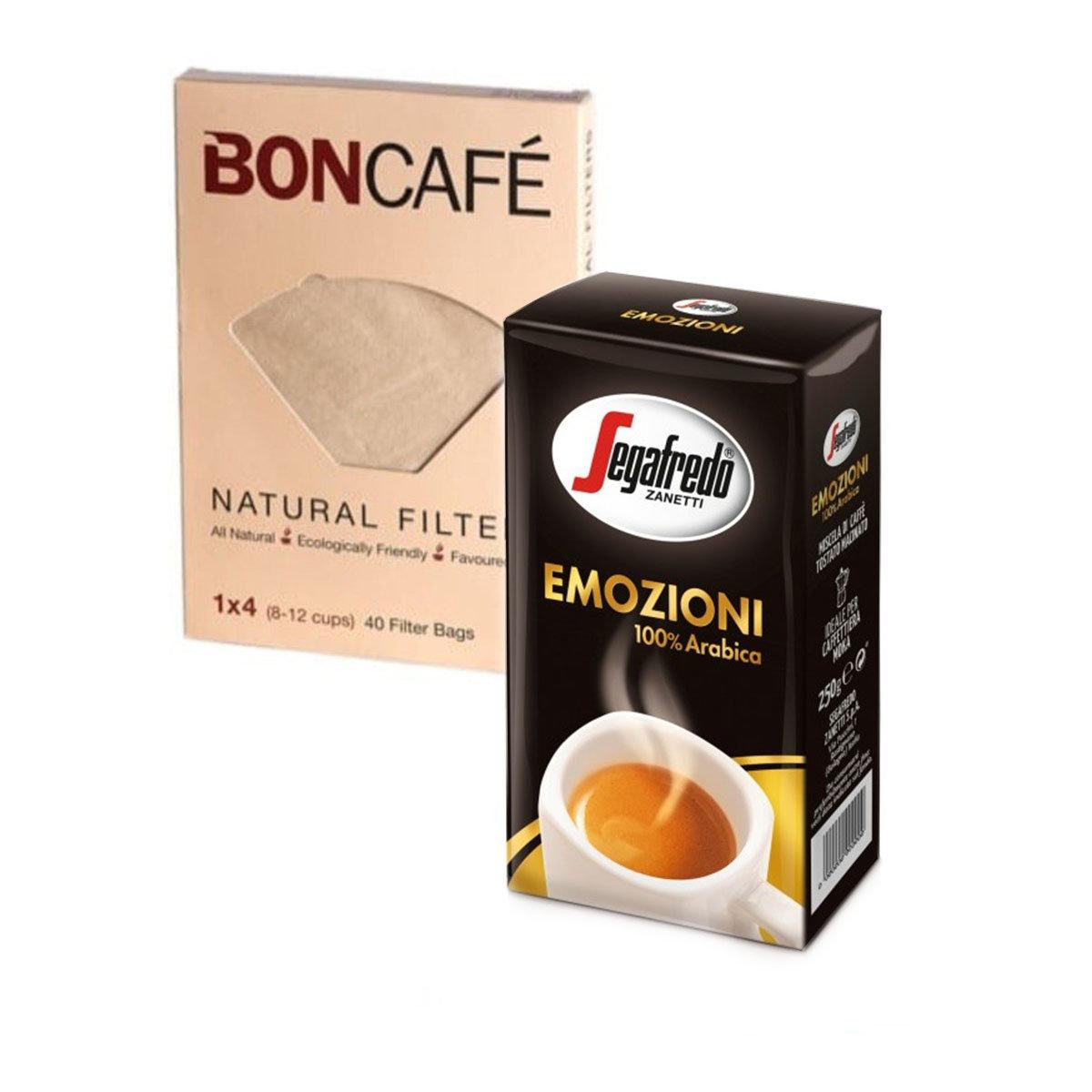 (100% Arabica) Emozioni Ground Coffee (Expiry: 06/2021) + 純天然咖啡濾紙 1x4 (40張)