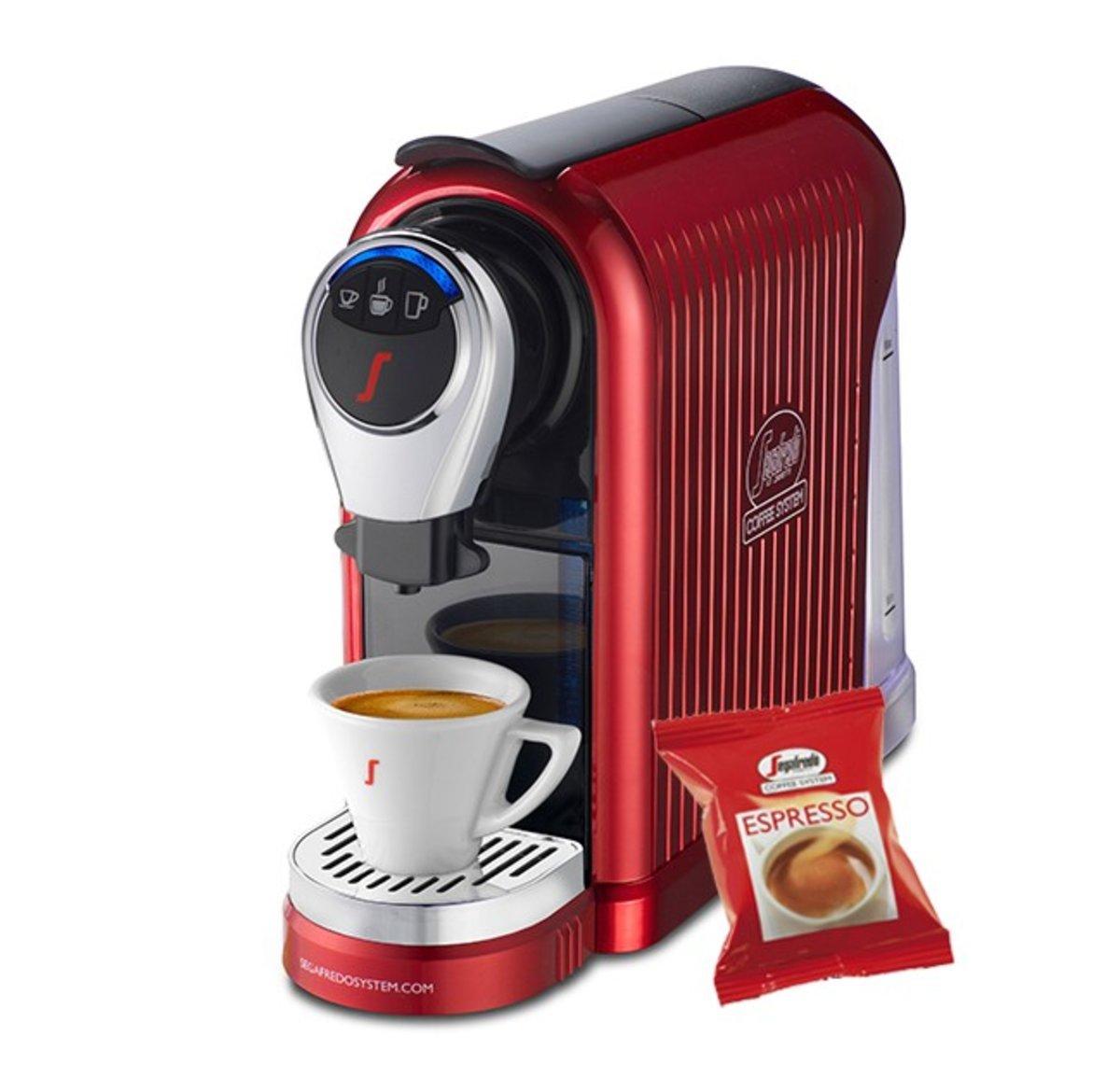 [100 Free Capsules] Espresso 1 Plus Coffee Capsule Machine (Glossy Red)