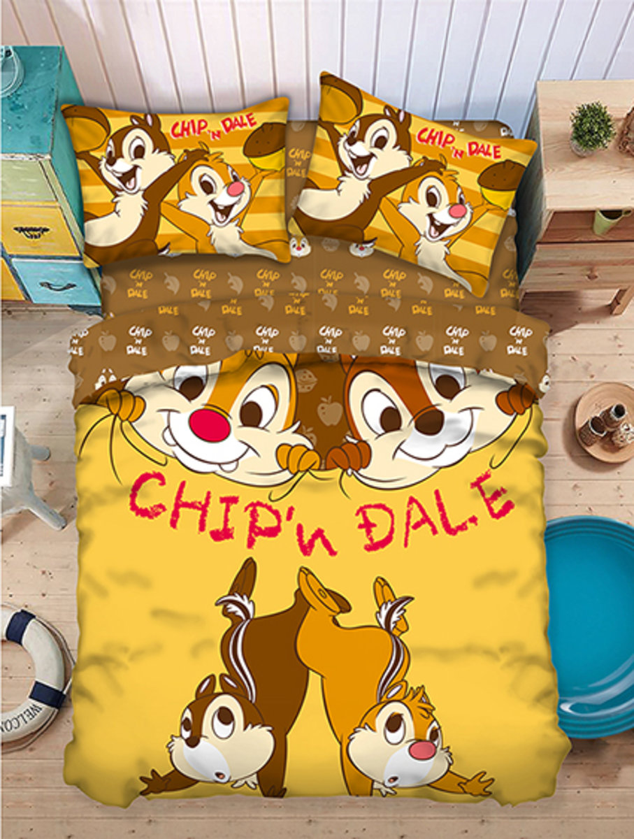 Bedding Set 1388 Threads (Fitted Sheet + Pillow Case + Quilt Cover) Disney Chip N Dale (CND181) (Licensed by Disney)