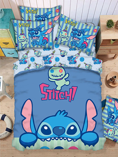 Bedding Set 1388 Threads (Fitted Sheet + Pillow Case + Quilt Cover) Disney Stitch (LS909) (Licensed by Disney)