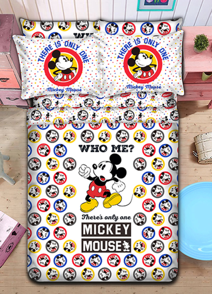 Bedding Set 1388 Threads (Fitted Sheet + Pillow Case + Quilt Cover) Disney Mickey Mouse (MC1641) (Licensed by Disney)