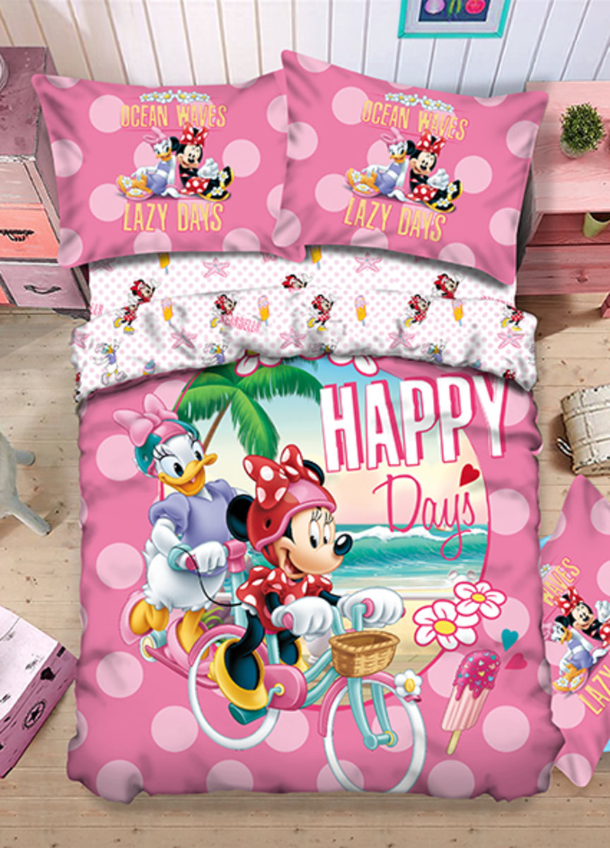 Bedding Set 1388 Threads (Fitted Sheet + Pillow Case + Quilt Cover) Disney Minnie (MU4647) (Licensed by Disney)
