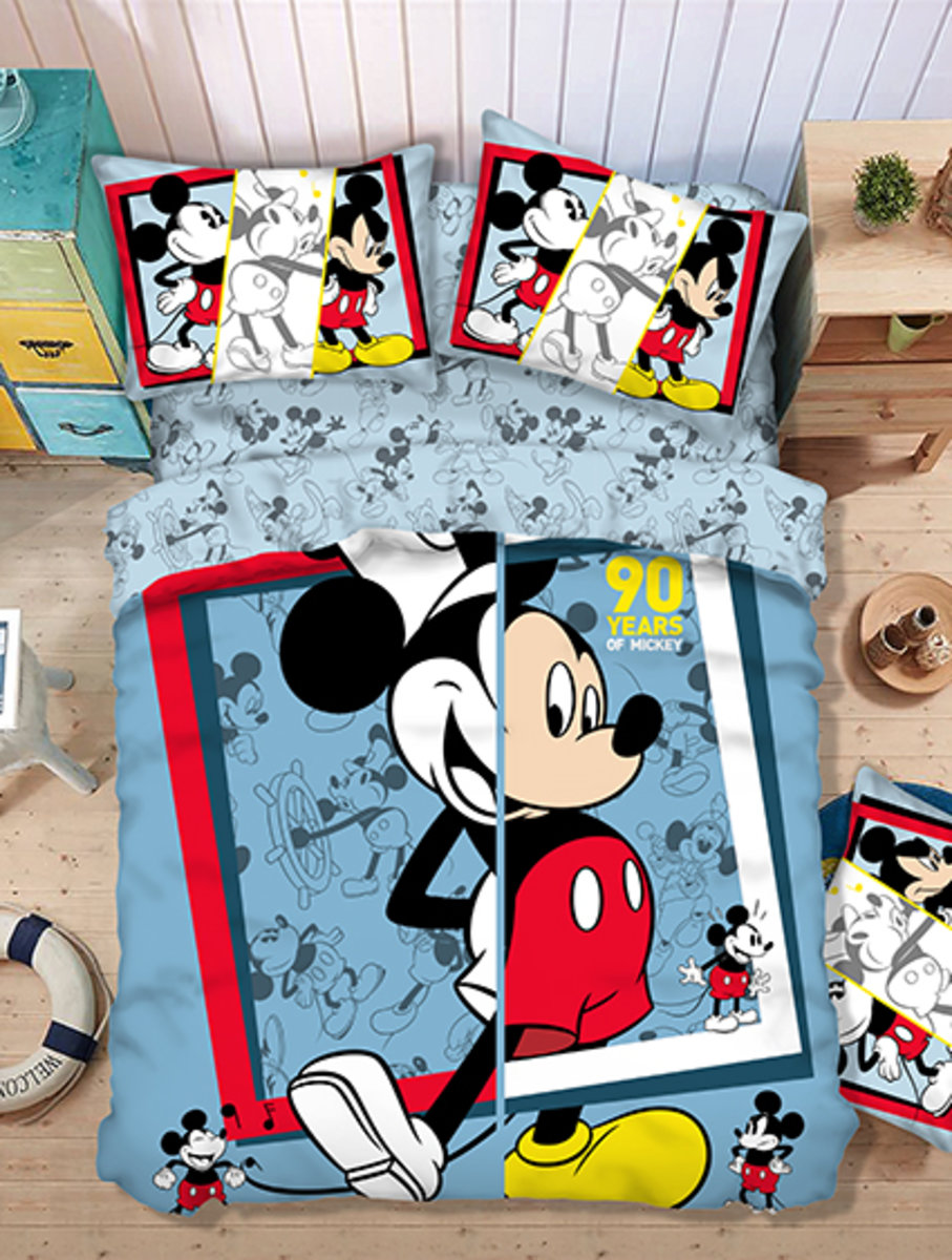 Bedding Set 1388 Threads (Fitted Sheet + Pillow Case + Quilt Cover) Disney Mickey Mouse (MU5079)