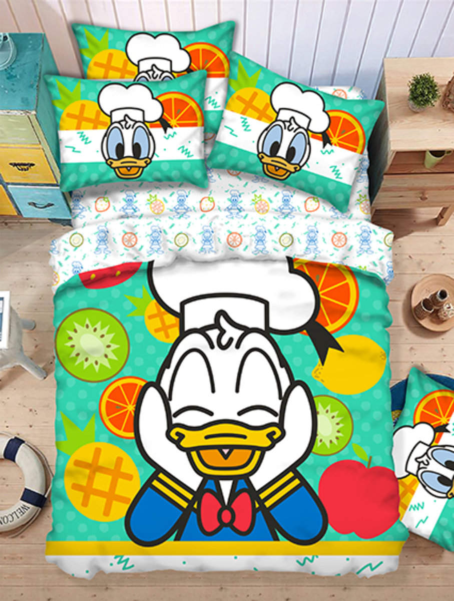 Bedding Set 1388 Threads (Fitted Sheet + Pillow Case + Quilt Cover) Disney Donald Duck (MU5083) (Licensed by Disney)