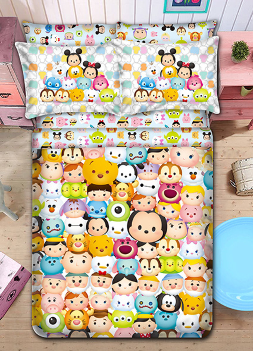 柔絲棉床品套裝 1388針 (床笠+枕袋+被袋) Disney Tsum Tsum (TT001)