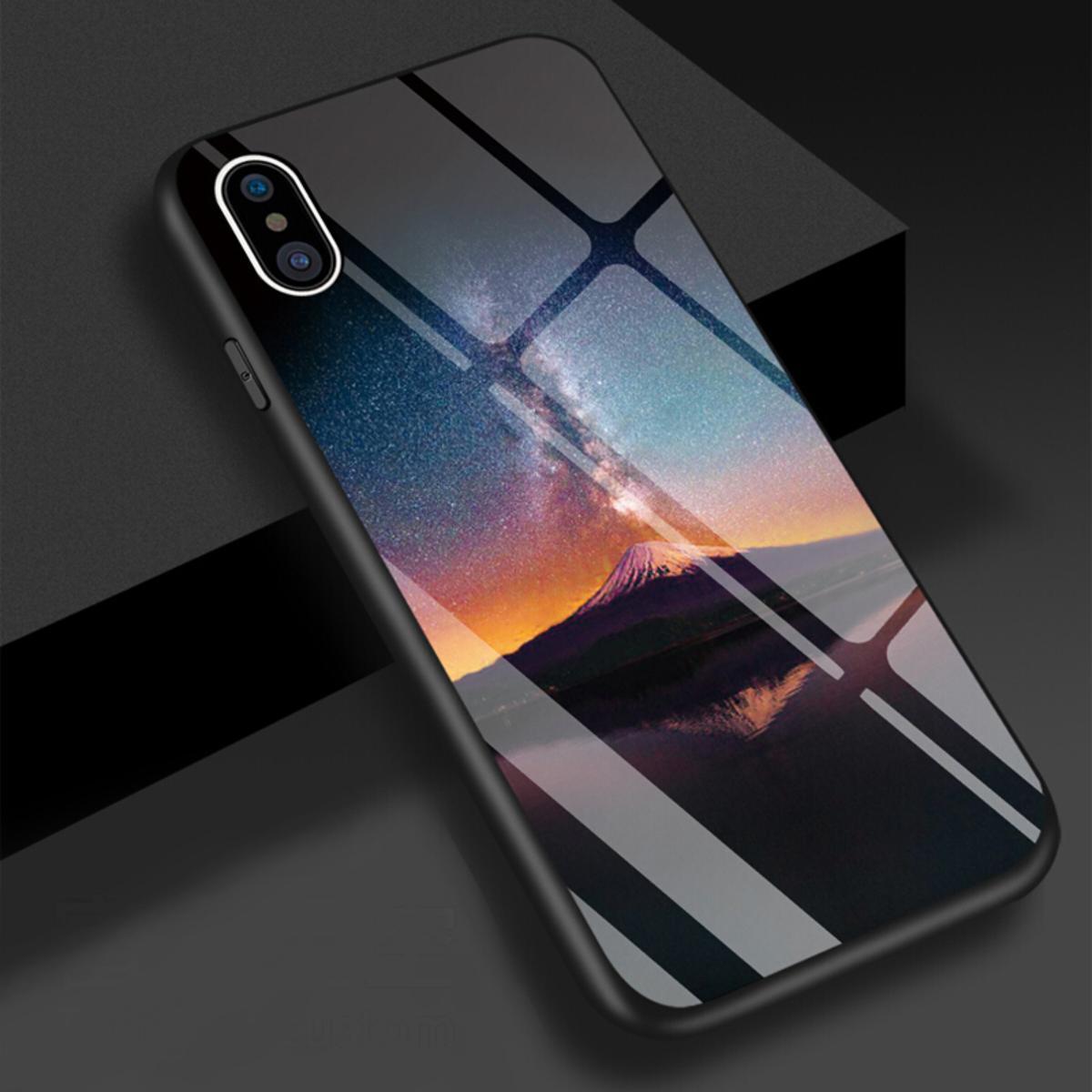 iPhone Xs Max 3D高防護鋼化玻璃外殼 (富士星空)