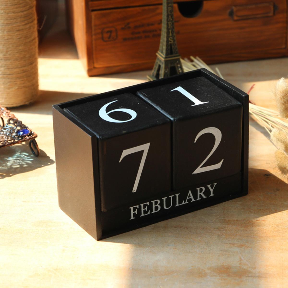 Wooden block mini calendar (Black)
