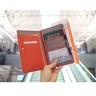 韓式皮革旅行護照包 (玫紅色)