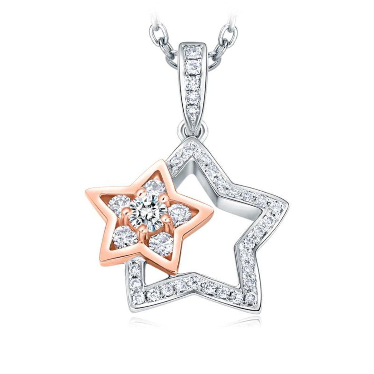 18K/ 750 Rose, White Gold diamond pendant