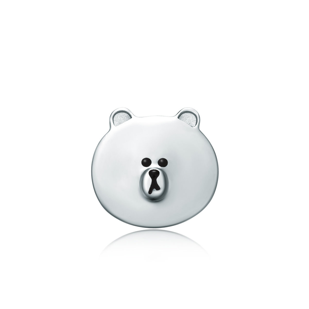 LINE FRIENDS Collection: Brown 18K/750 White Gold Earring (Single)