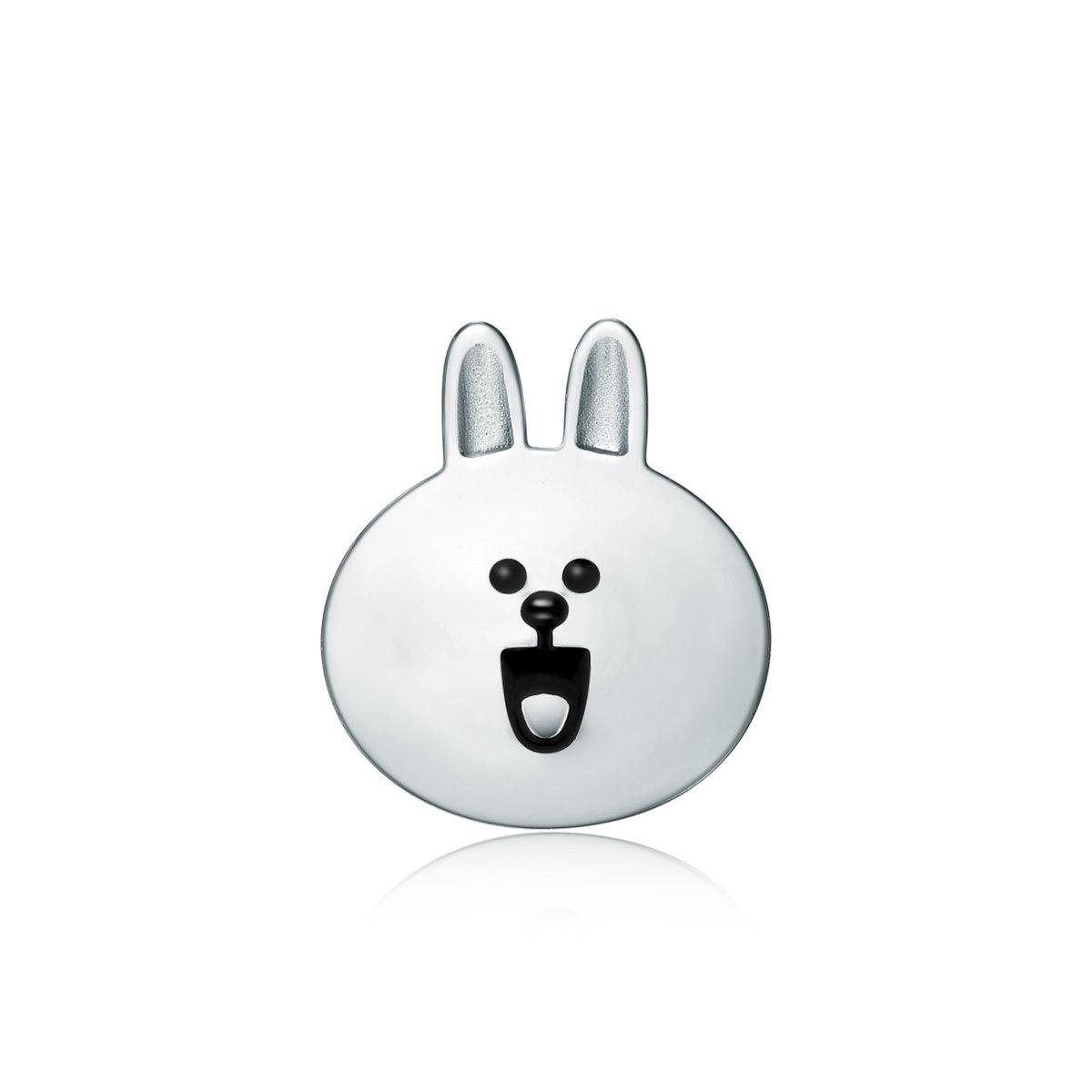 LINE FRIENDS 系列: Cony 18K/750 白色黃金耳環(單隻)