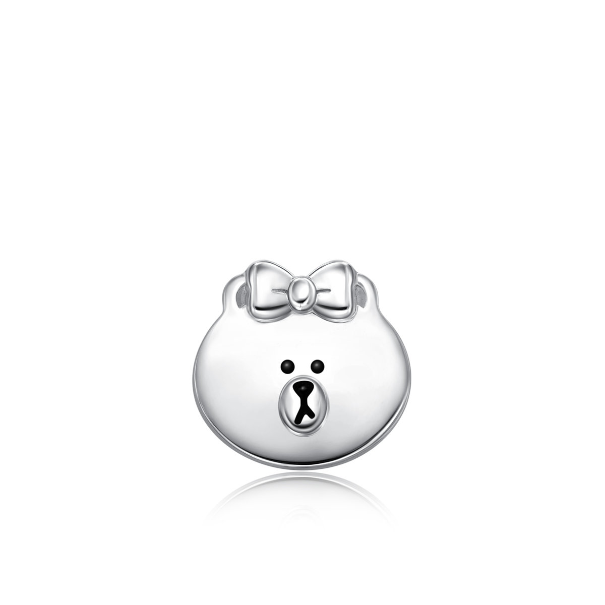 LINE FRIENDS Collection: Choco 18K/750 White Gold Earring (Single)