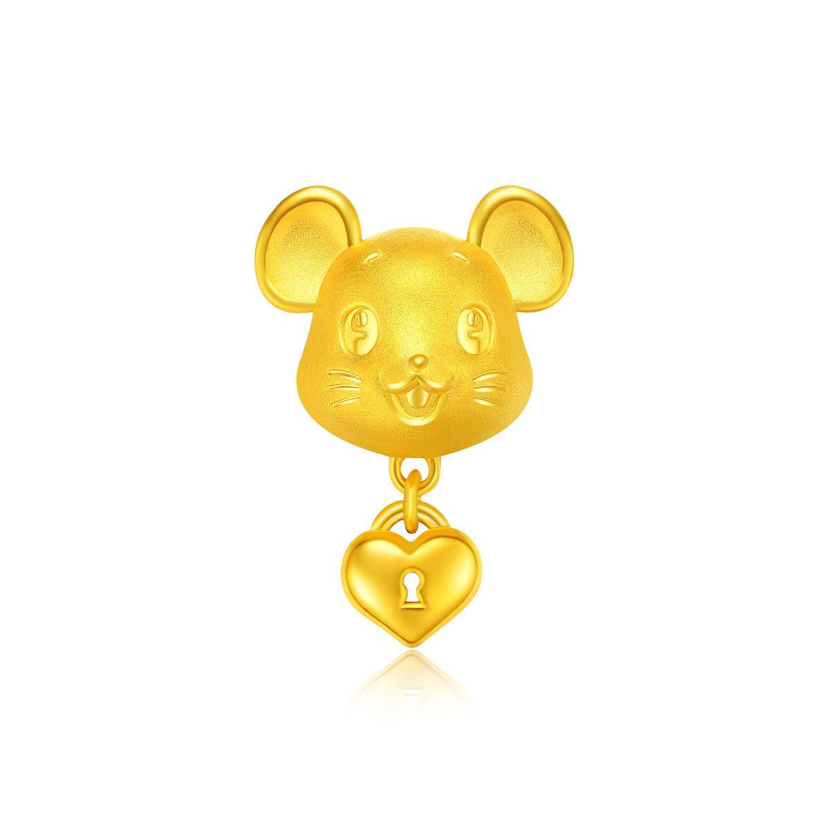 鼠年生肖: 心願鼠999足金串飾(連手繩)
