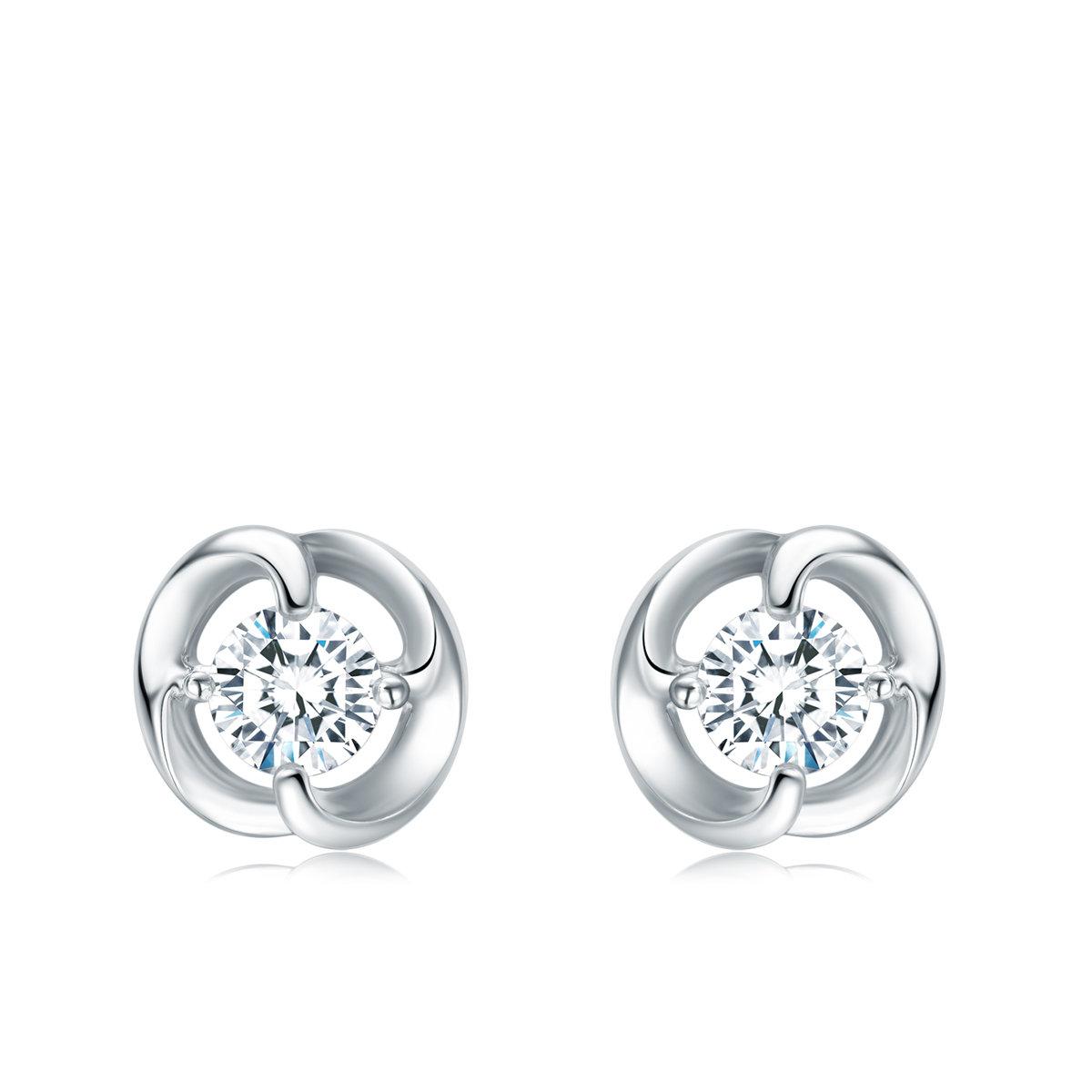 18K/750 White Gold Diamond Earrings