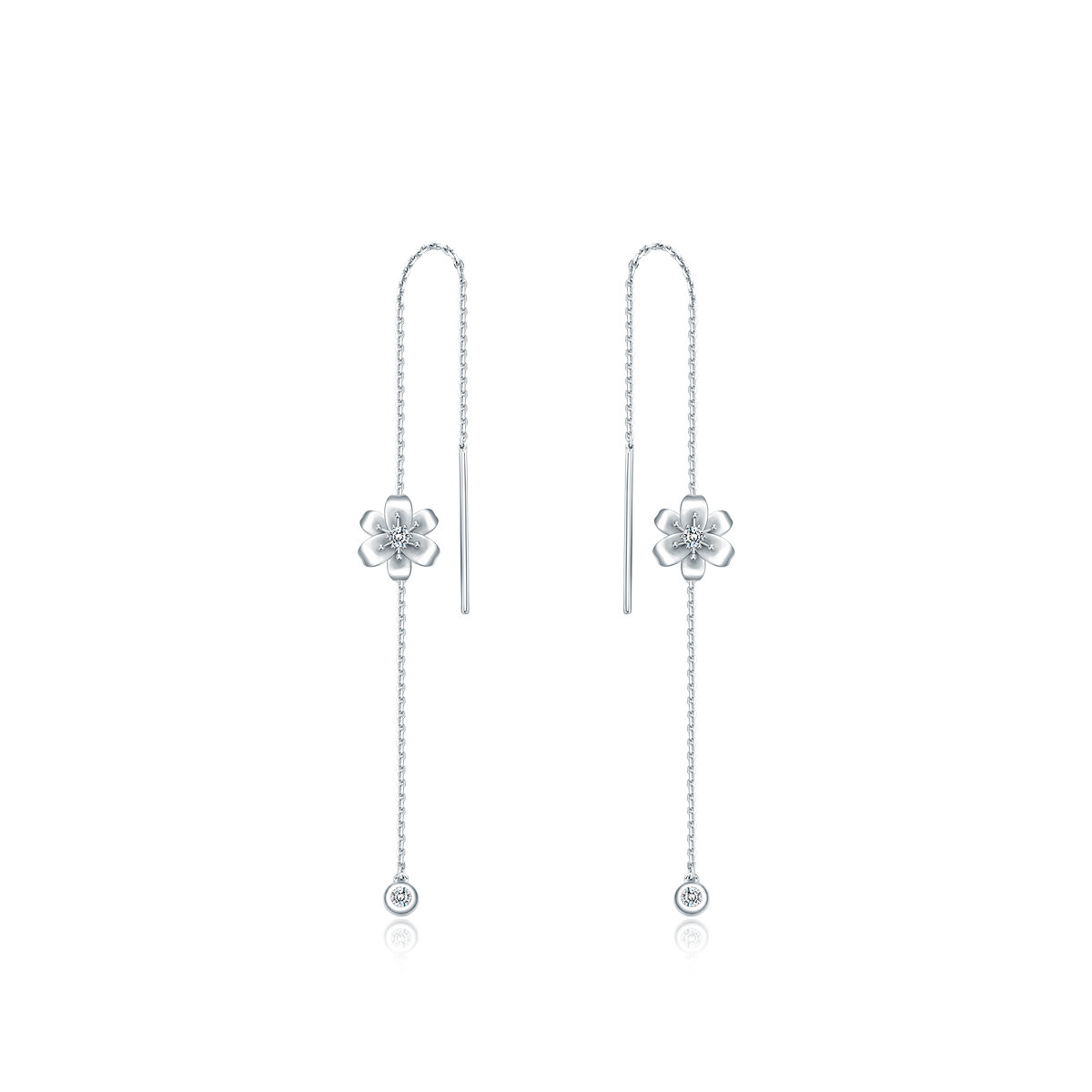 Love in Petals Collection: 18K/750 White Gold Diamond Earrings