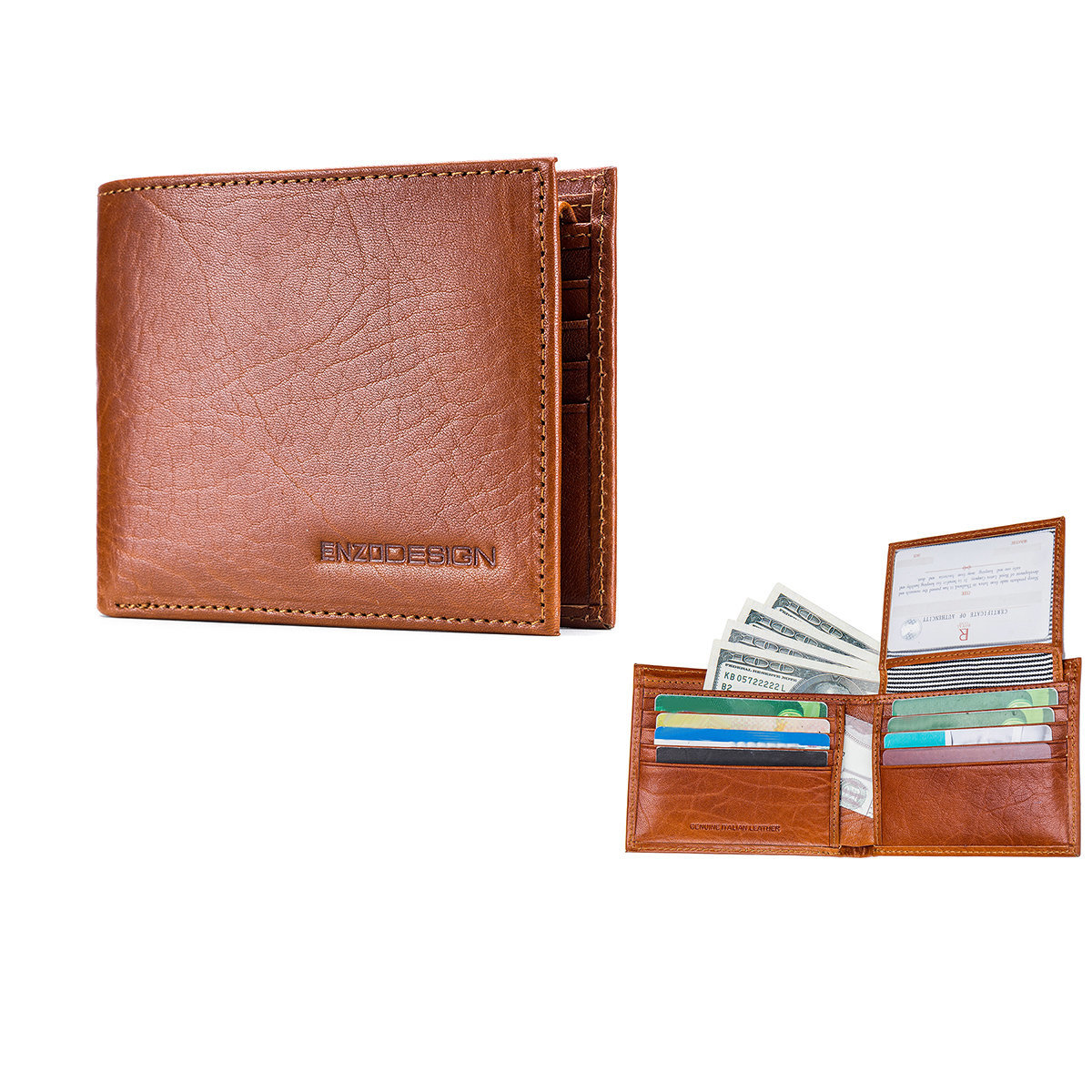 ENZODESIGN Italian Leather Slim Bi-fold Wallet With 8 Card slots and Flip over I.D. Windows