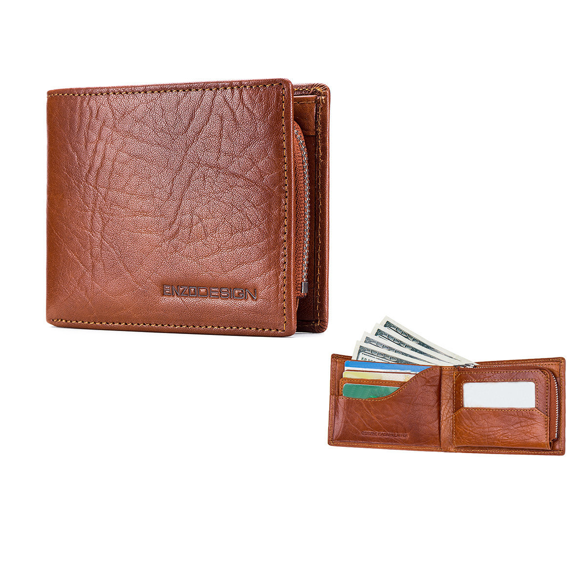 Italian Cow Leather Multi-Functional Wallet (With Zip Coin Compartment)