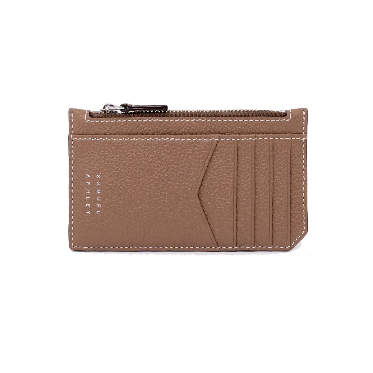 Nicky Card Case with Zip Pocket - Truffle