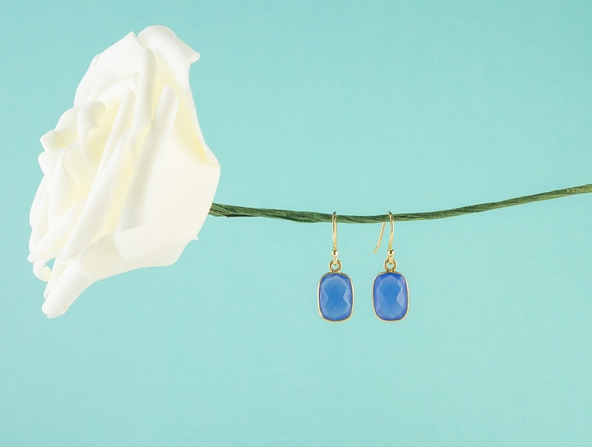Blue Color Little Rectangle Chalcedony Silver Earrings - Gold Color