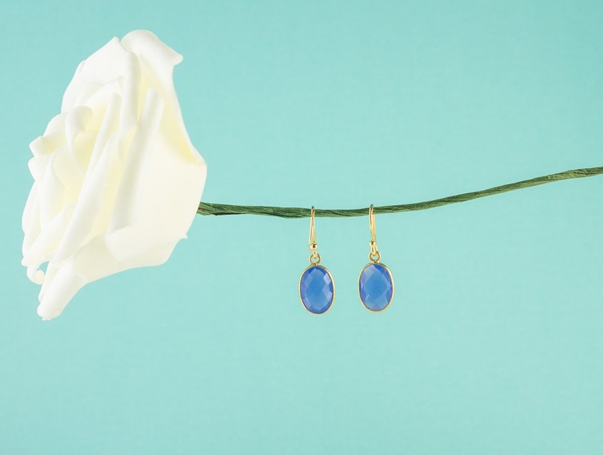 Blue Color Little Oval Chalcedony Silver Earrings - Gold Color