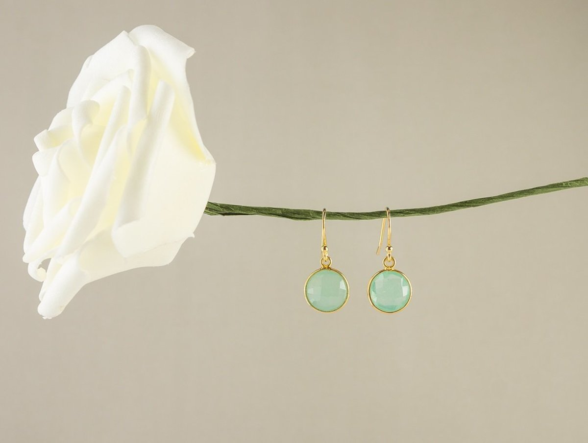 Mint Color Little Round Chalcedony Silver Earrings - Gold Color