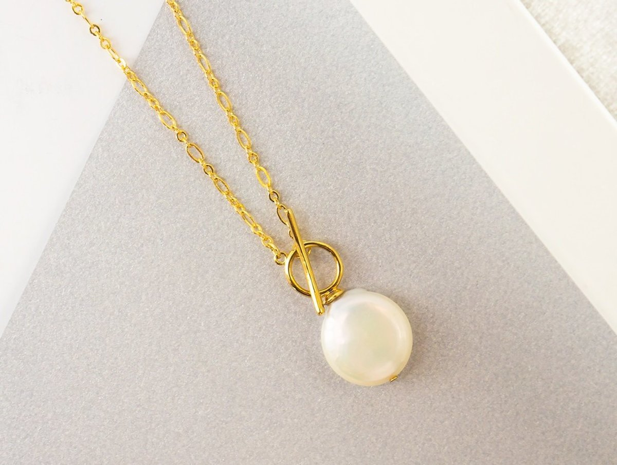 Freshwater Coin Pearl Necklace - Gold Color