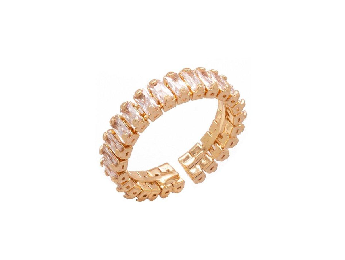 閃爍彈性鋯石開口戒指 - 金色