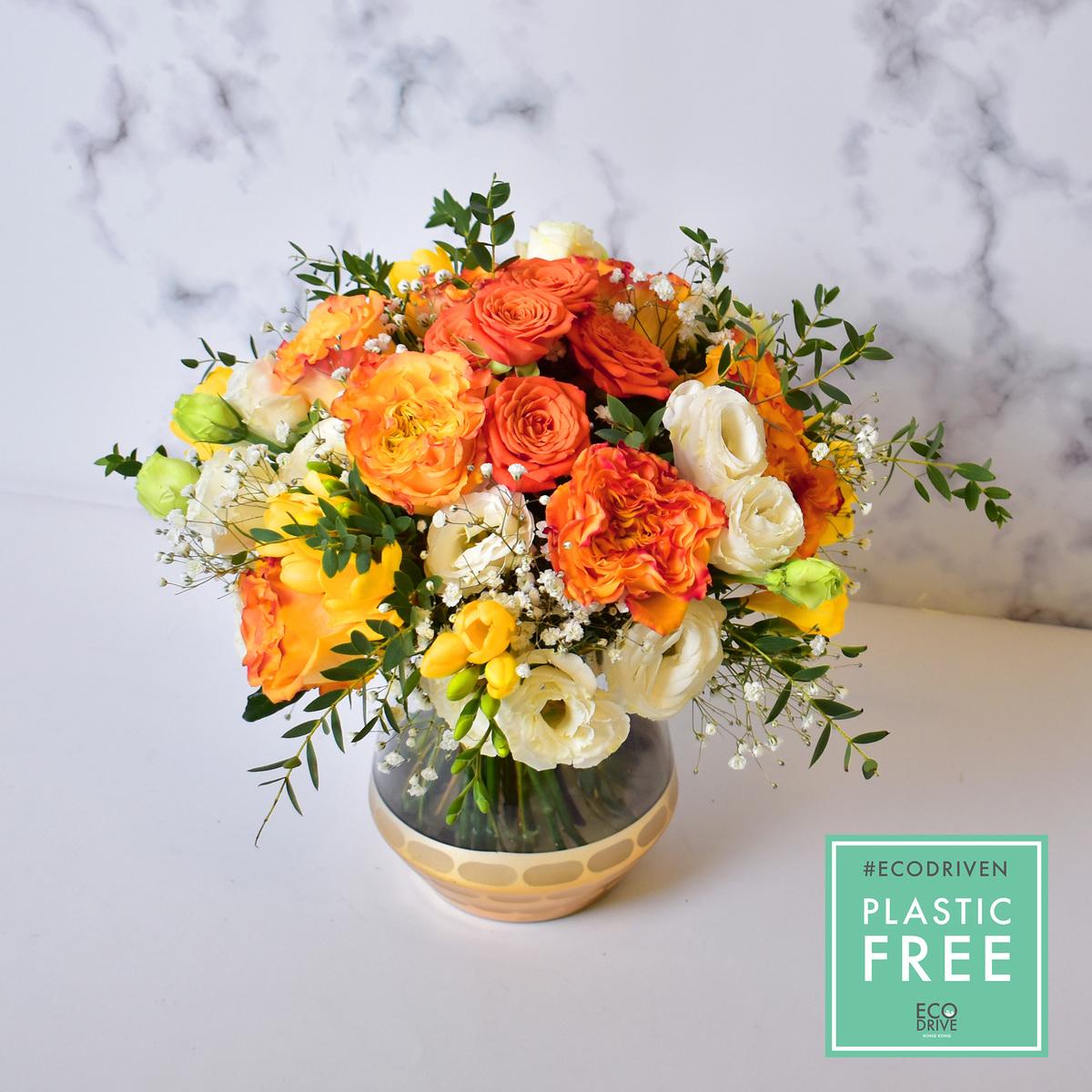 玫瑰與小蒼蘭連花瓶