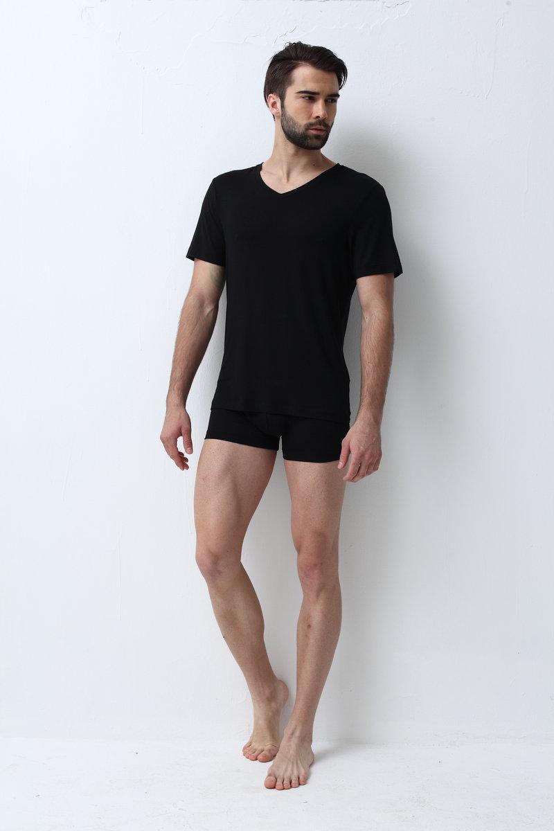 歐洲進口男裝莫代爾短袖V領T-恤