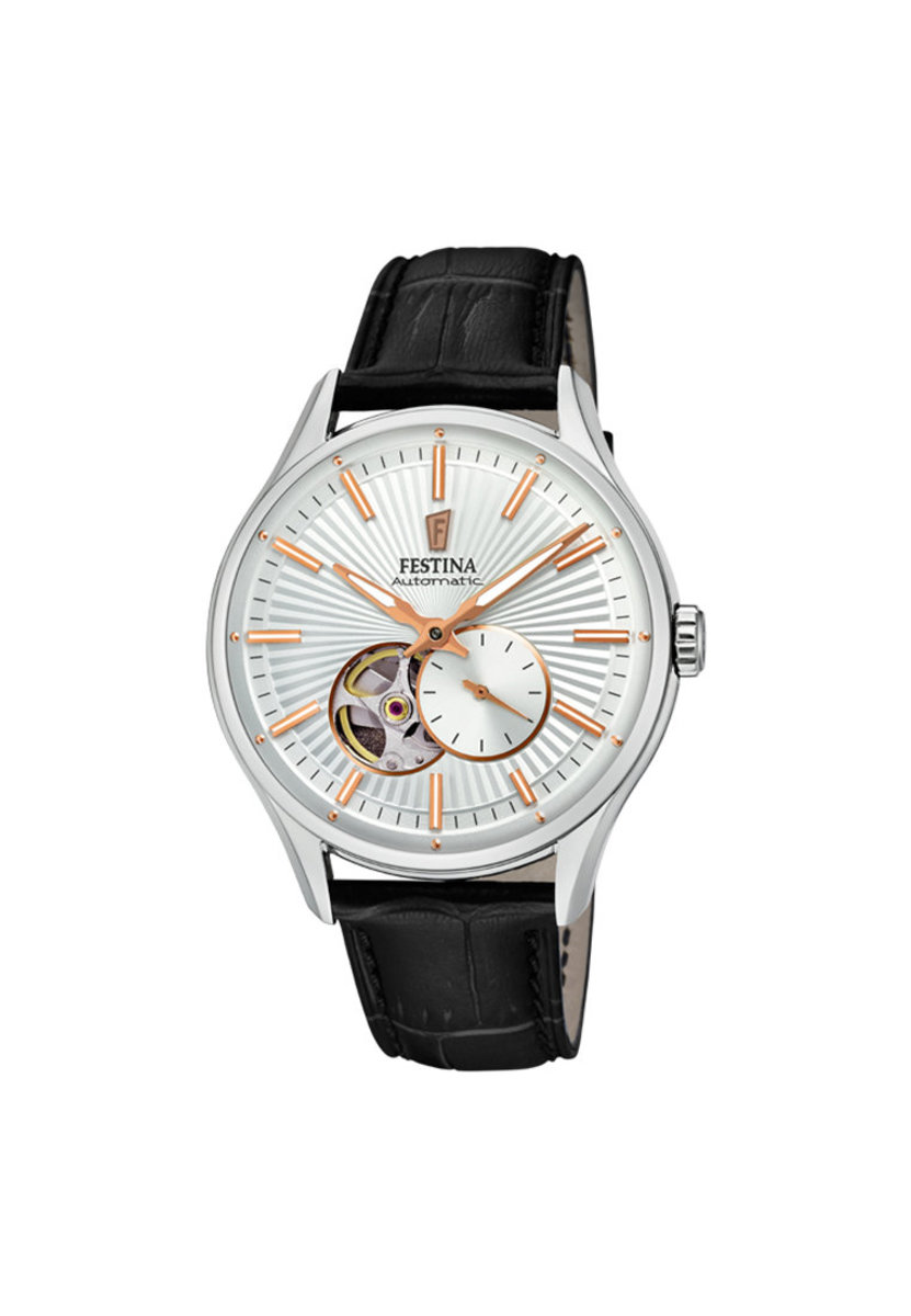 Festina  Automatic Leather Strap Watch  In White dial F16975/1