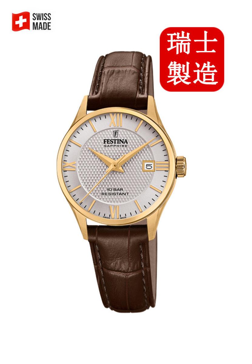 Festina Swiss-made Female Gold Leather strap Watch F200011/2