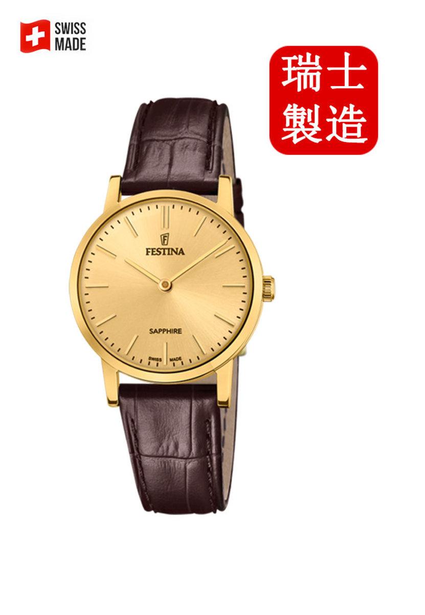 Festina Swiss-made Female Gold Leather strap Watch F20017_2