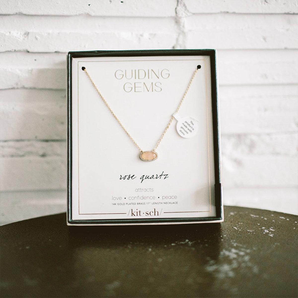 裸粉色寶石項鍊及耳環組合・14K金