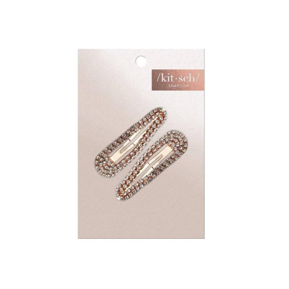 Kitsch x Justine Marjan Rhinestone Snap Clip Rose Gold 2pc