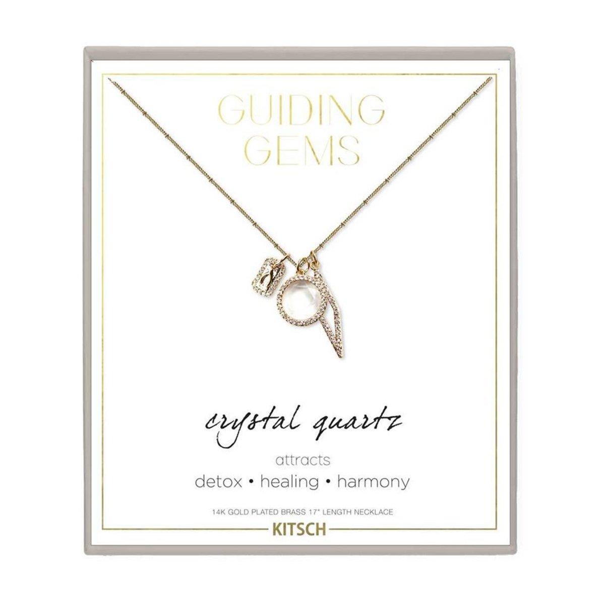 14K Gold Guiding Gem Cluster Charm Necklace - Clear Quartz