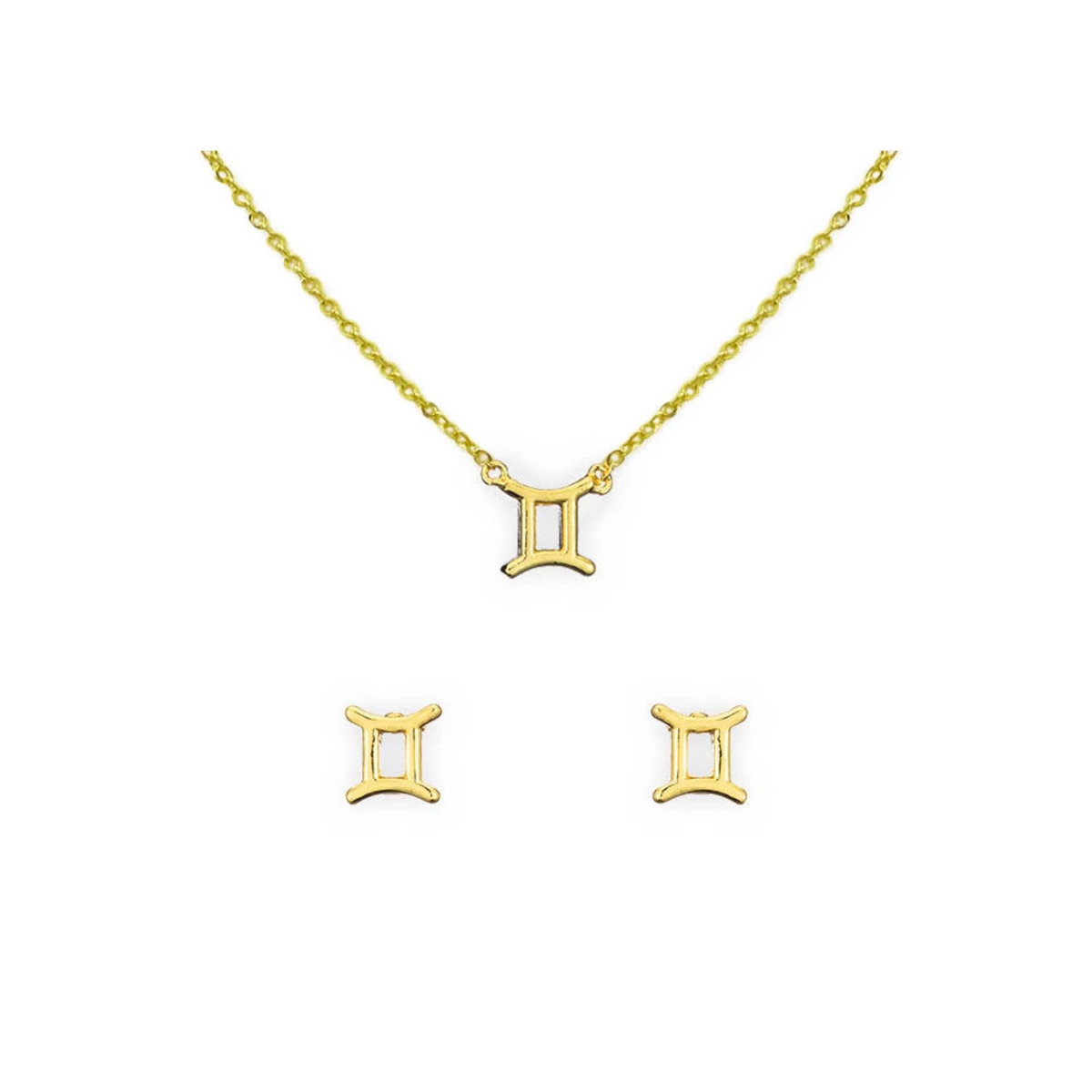 [Clearance]14K Gold Astrology Necklace and Earring Set Gemini
