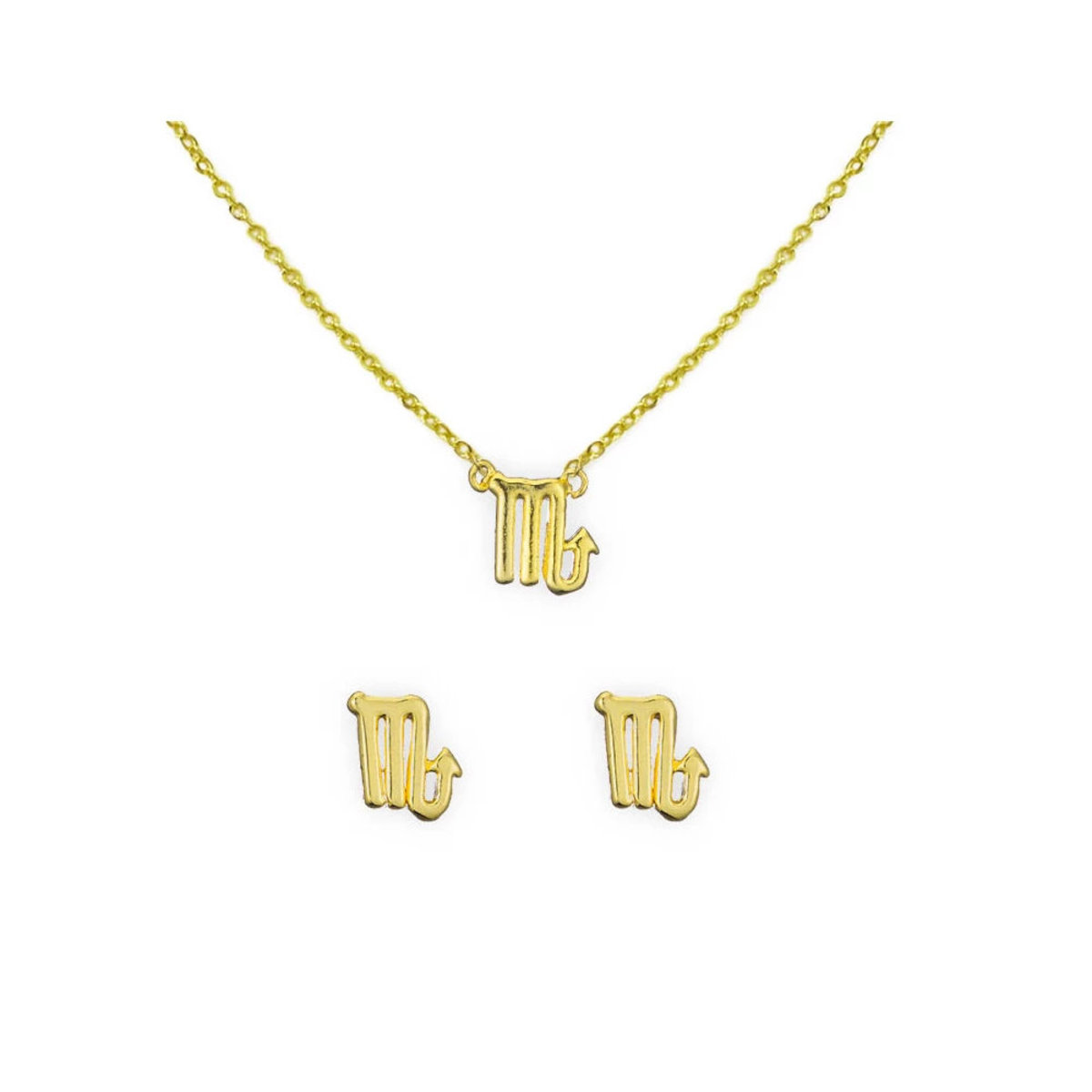 [Clearance]14K Gold Astrology Necklace and Earring Set Capricorn
