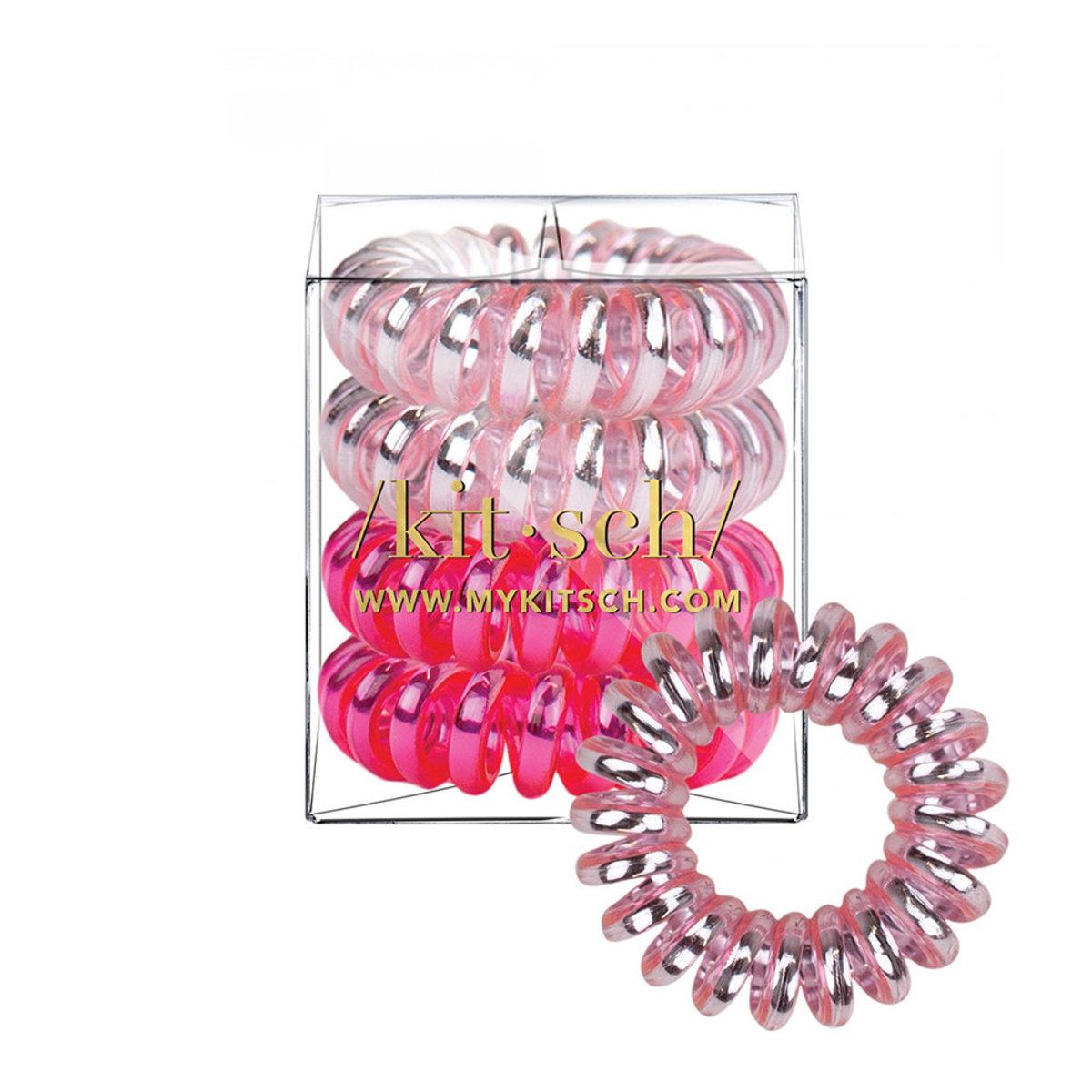 無痕電話線髮圈・亮粉紅色