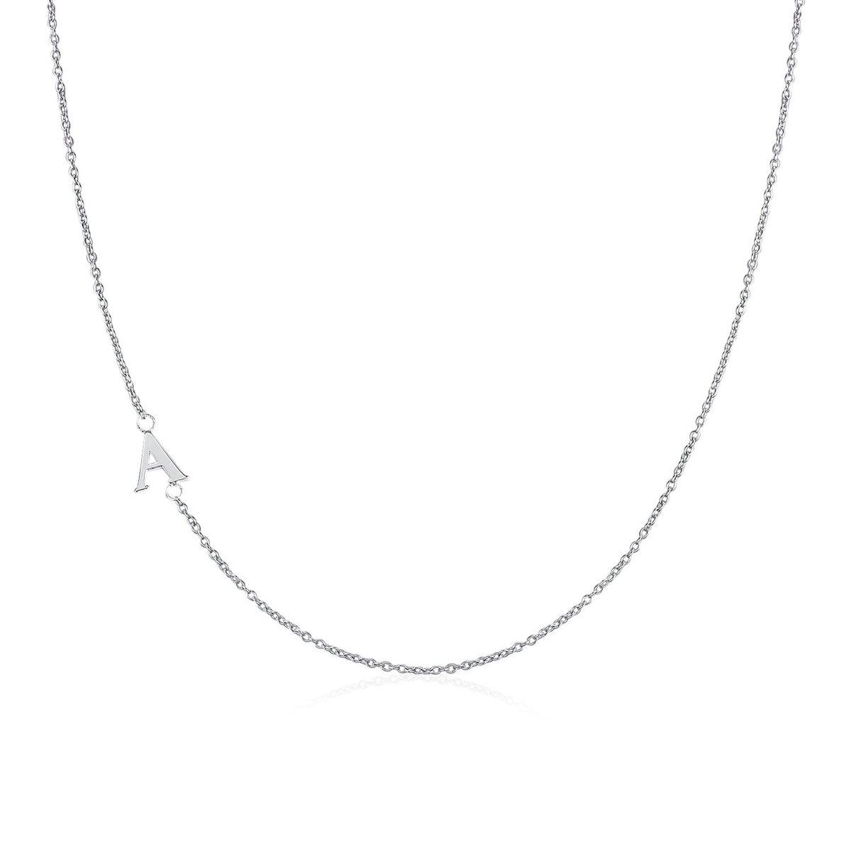 .925純銀鍍18K金A字母項鍊 | 情人節禮物