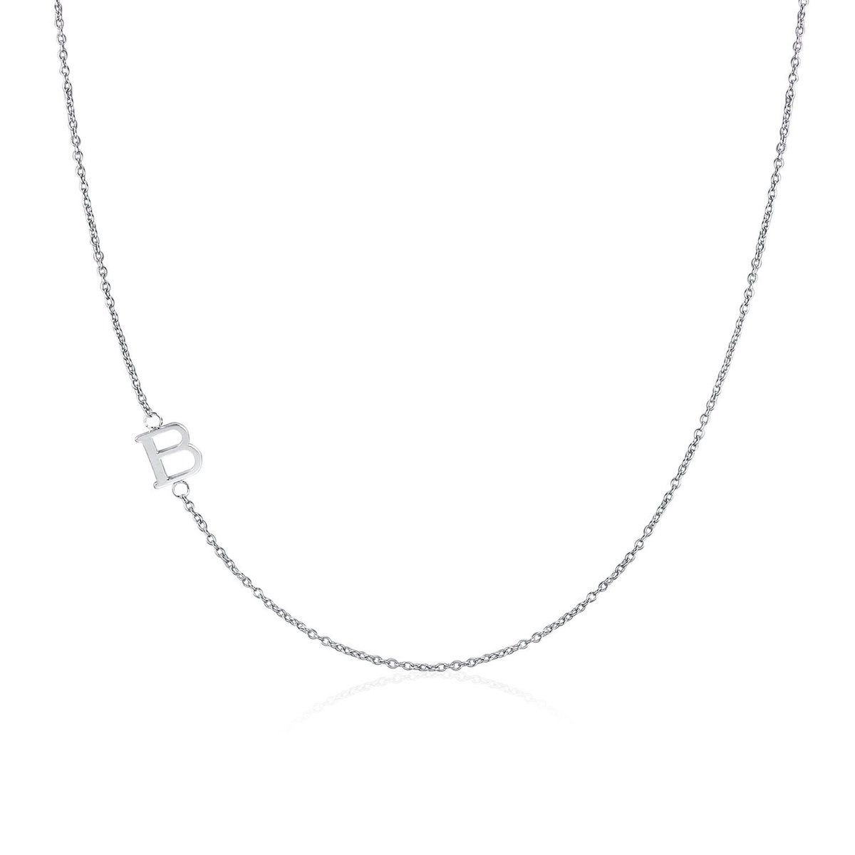 .925 Sterling Silver Sideway Letter B Necklace (18k white gold plating)