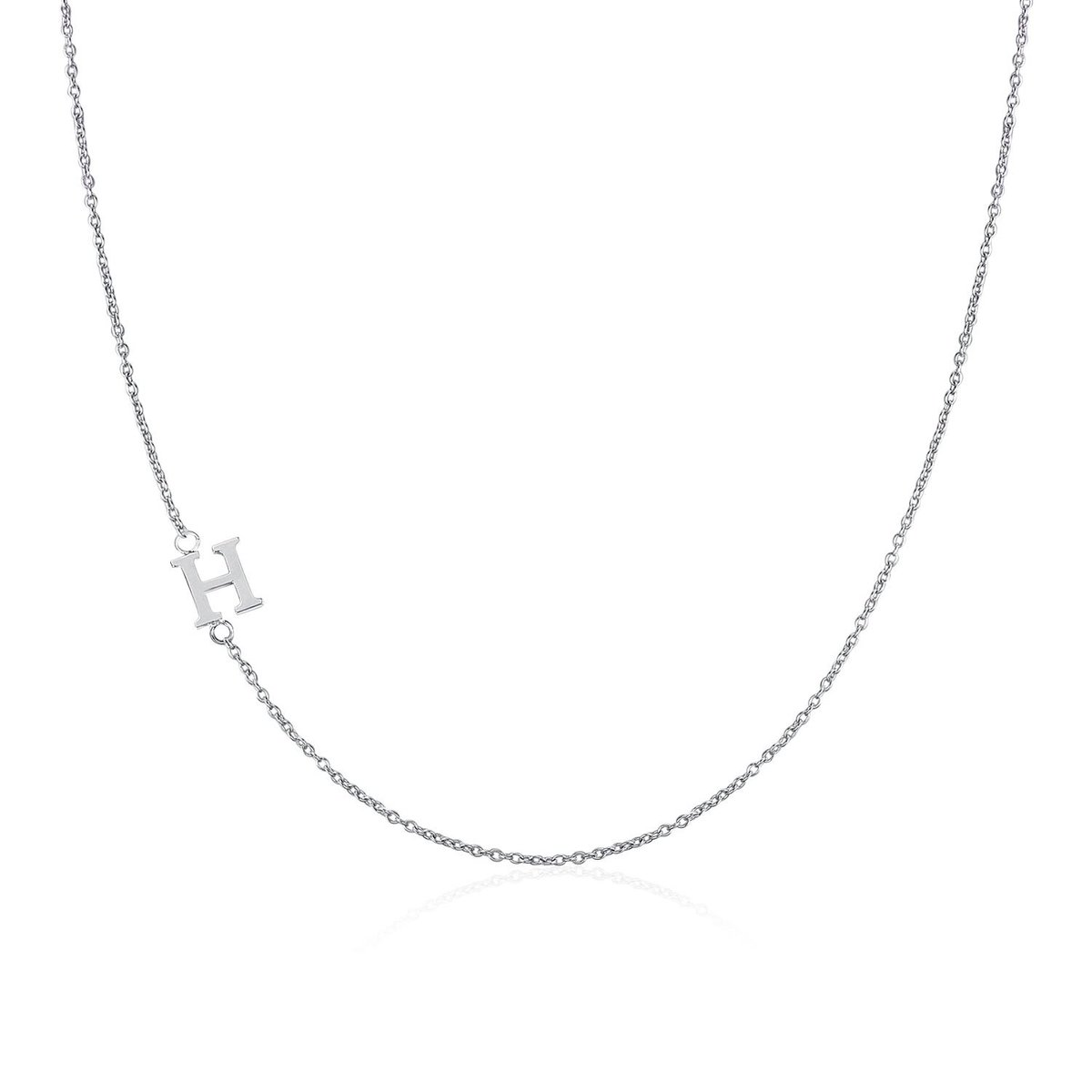 .925 Sterling Silver Sideway Letter H Necklace (18k white gold plating)