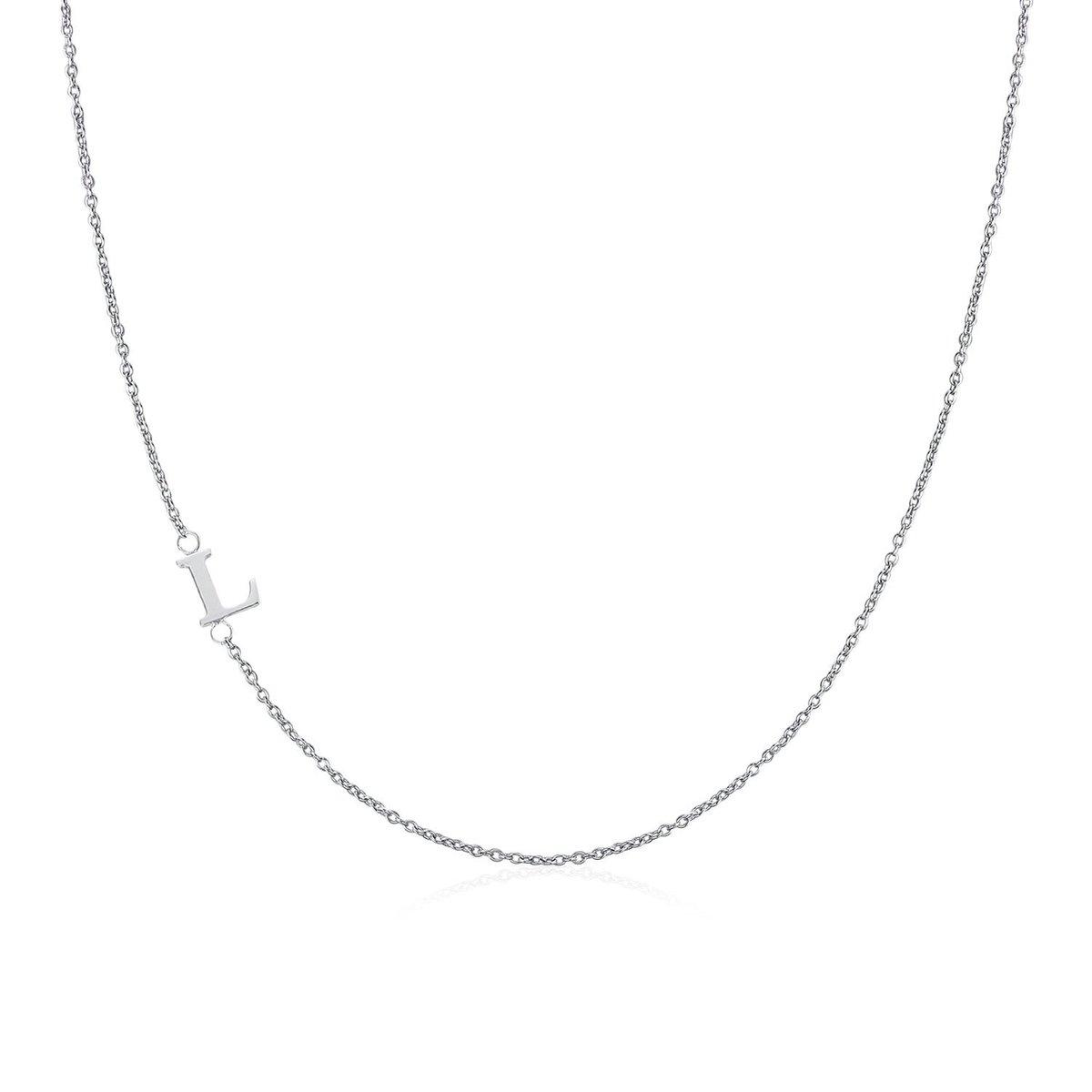 .925 Sterling Silver Sideway Letter L Necklace (18k white gold plating)