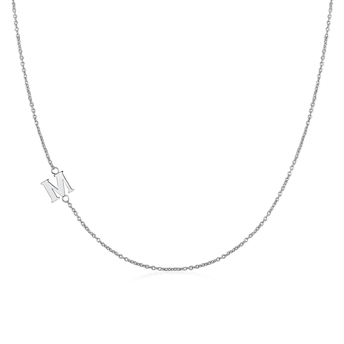 .925 Sterling Silver Sideway Letter M Necklace (18k white gold plating)